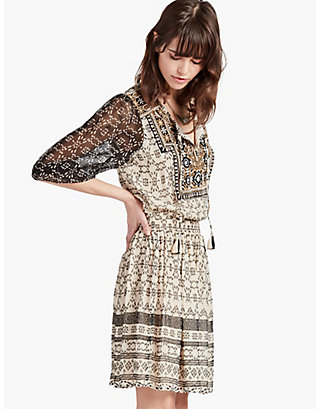 LUCKY EMBROIDERED YOKE DRESS