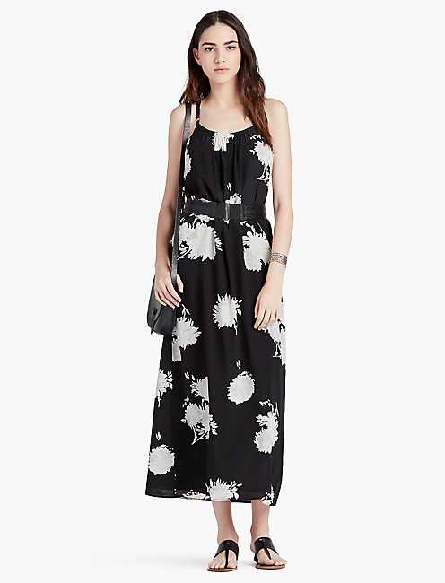 LUCKY BLACK FLORAL SILK MAXI