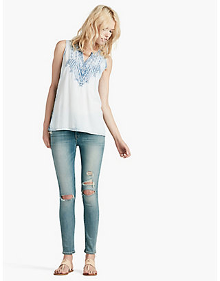 LUCKY TENCEL EMBROIDERED TANK