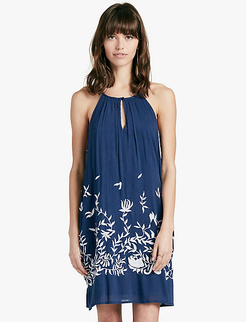 FLORAL EMBROIDERED DRESS, BLUE MULTI