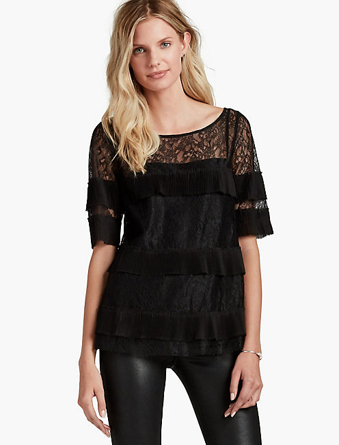 LACE PLEATED TOP,