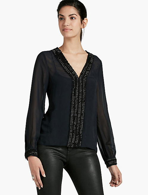 V-NECK BEADED TOP,