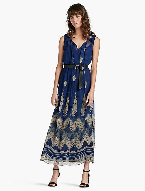 LUCKY BLUE LEAF MAXI DRESS