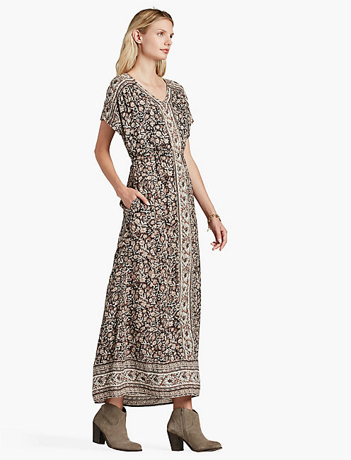 LUCKY WOODBLOCK MAXI DRESS