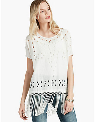 LUCKY CUTOUT FRINGE TOP