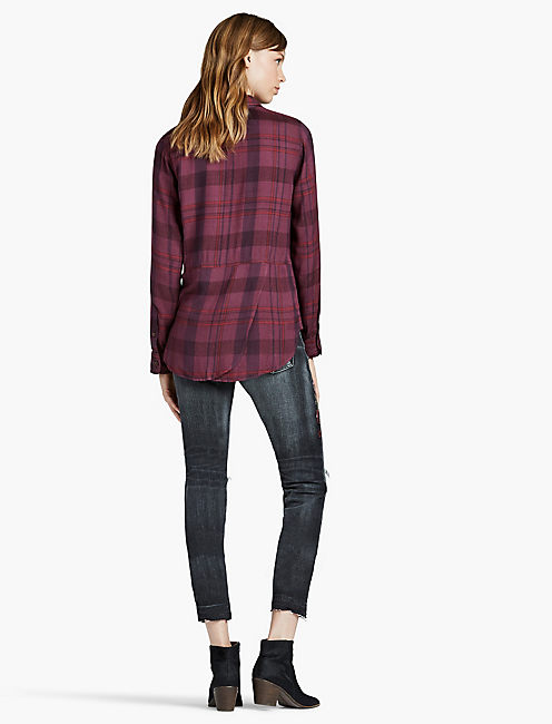 BACK OVERLAY SHIRT, BURGANDY MULTI