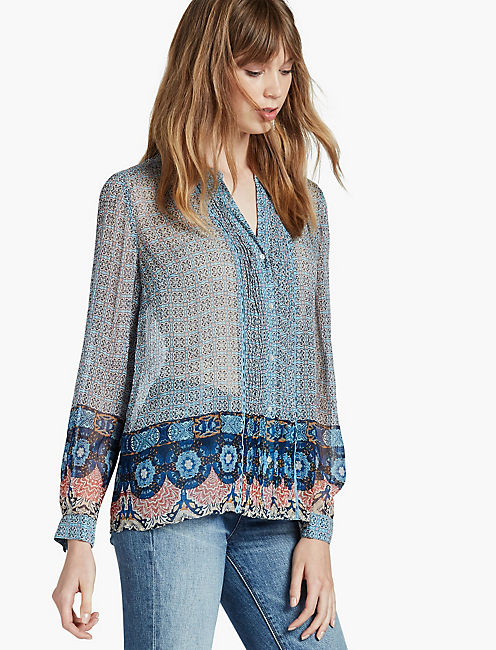 BLUE MULTI BLOUSE,