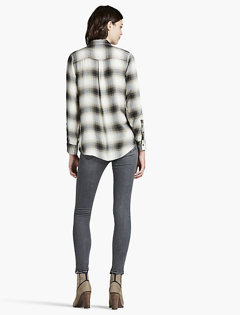 BUTTON SIDE PLAID, NATURAL MULTI