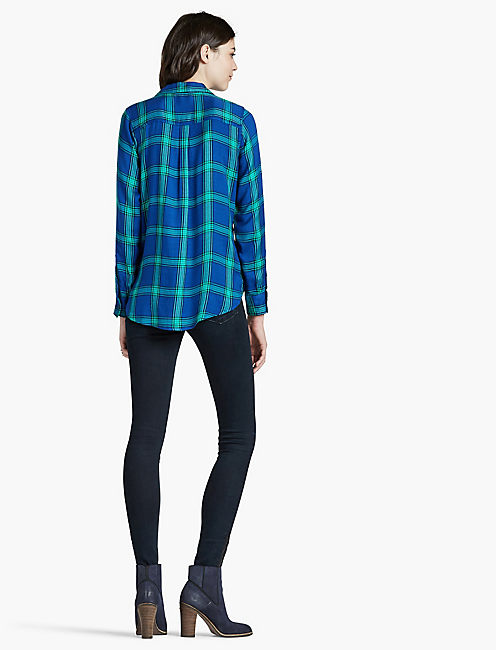 BUTTON SIDE PLAID, GREEN MULTI