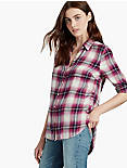 BUTTON SIDE PLAID, PINK MULTI
