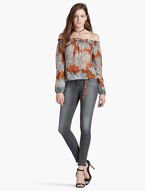 LUCKY PAISLEY OFF-THE-SHOULDER TOP