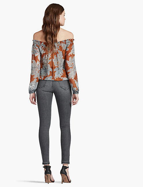 PAISLEY OFF-THE-SHOULDER TOP,