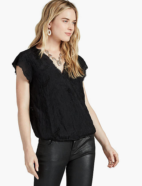EMBROIDERED CROSS FRONT TOP,