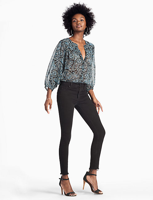 LUCKY DOLMAN PAISLEY PEASANT TOP