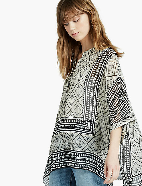 SCARF TUNIC, NATURAL MULTI