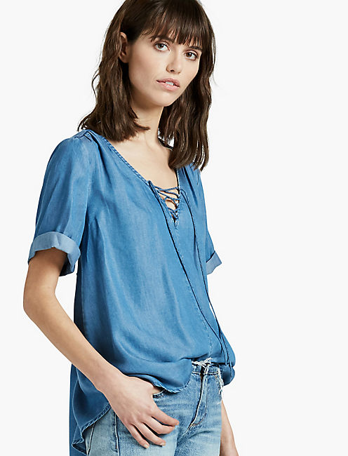 TENCEL LACE UP TOP,