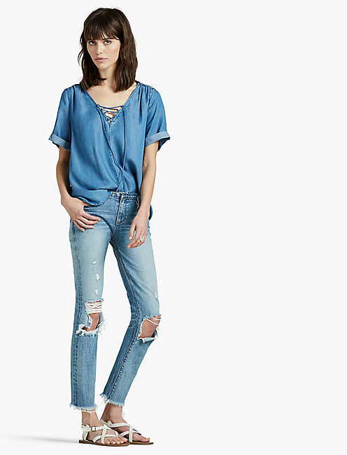 Lucky Tencel Lace Up Top