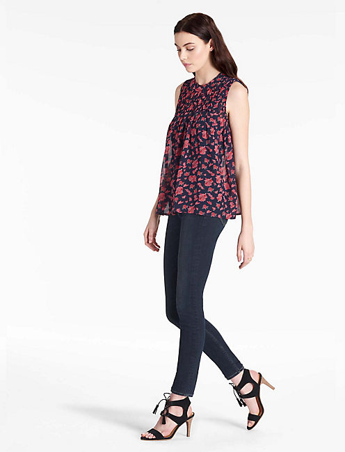 TUCKED YOKE TANK, NAVY MULTI