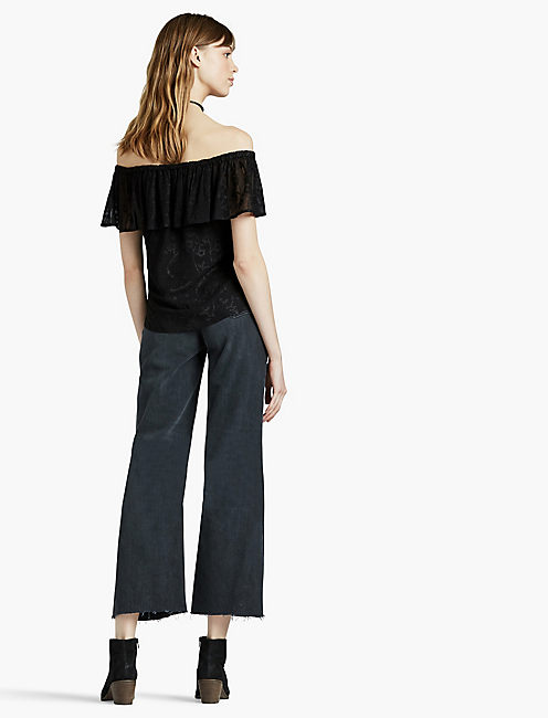 EMBROIDERED OFF THE SHOULDER TOP, 001 LUCKY BLACK