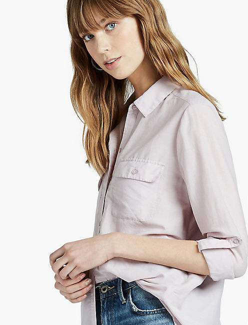 WASHED SILK BUTTON DOWN SHIRT, IRIS