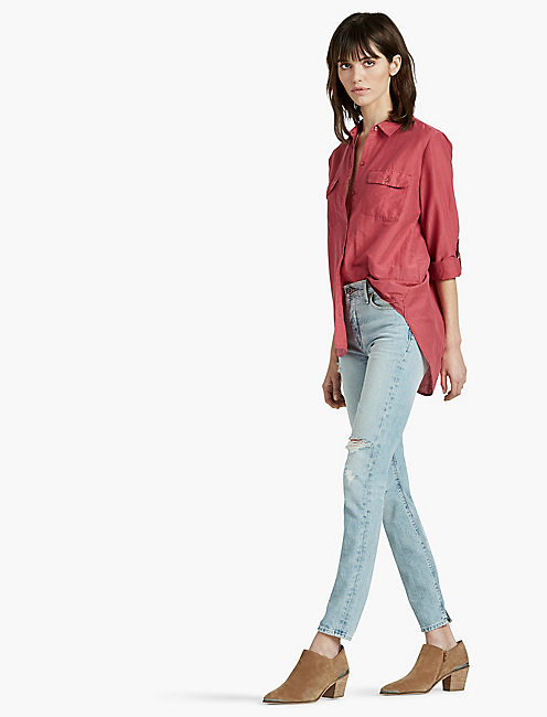 WASHED SILK BUTTON DOWN SHIRT, EARTH RED