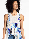 EMBROIDERED SMOCKED TANK,