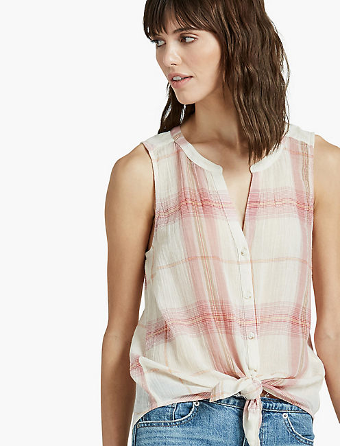 SLEEVELESS TIE FRONT TOP, PINK MULTI