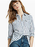 STRIPE SPLIT BACK SHIRT,