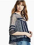 LACE INSET BLOUSE, NAVY MULTI