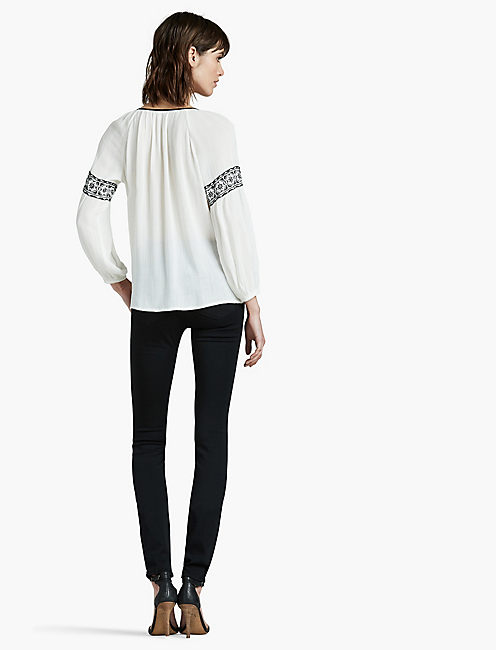 TEXTURED EMBROIDERED PEASANT TOP,