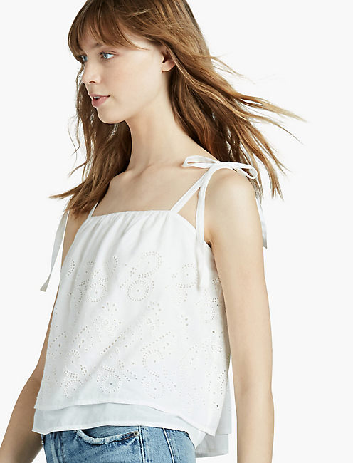 EYELET LAYERED TANK, MARSHMALLOW