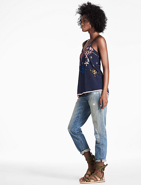 EMBROIDERED Tank, BLUEBERRY