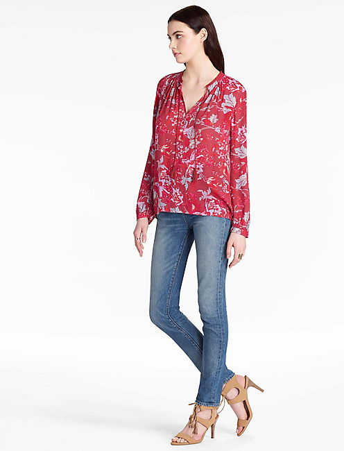 Lucky Floral Fringe Neck Blouse