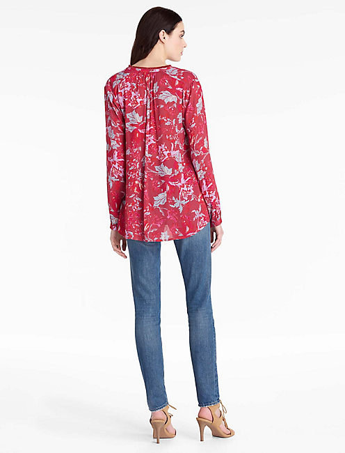 FLORAL FRINGE NECK BLOUSE,