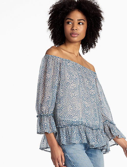 BLUE MAZE OFF SHOULDER TOP,