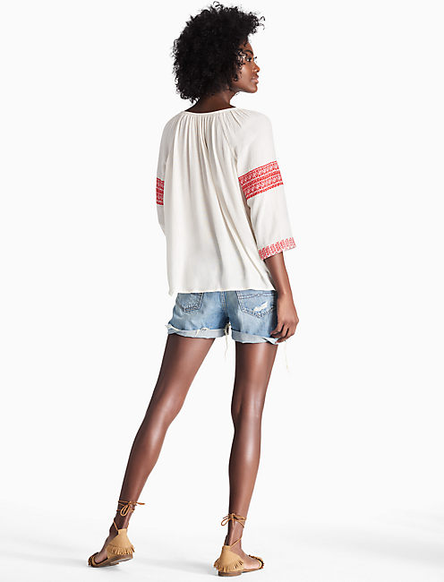 CHEVRON EMBROIDERED PEASANT TOP, EGGSHELL