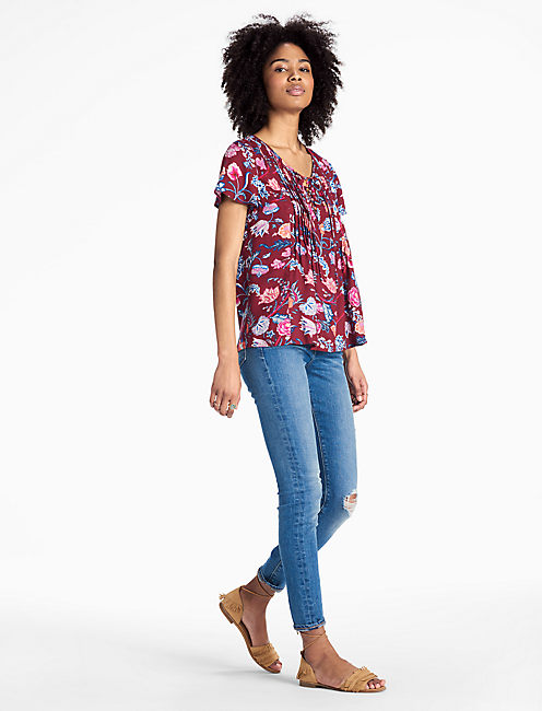 LUCKY RED FLORAL PEASANT TOP