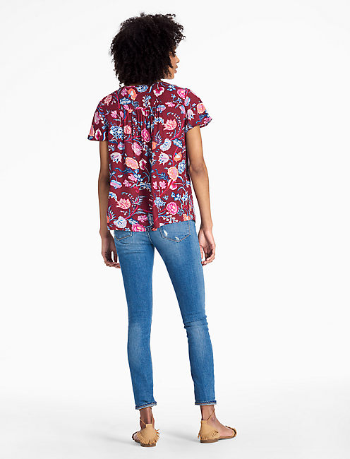 RED FLORAL PEASANT TOP,