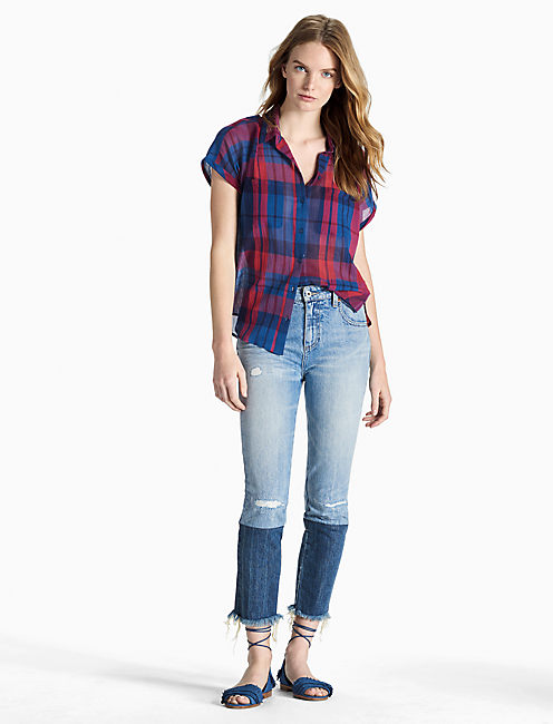 Lucky Patriotic Plaid Top