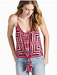 TIE FRONT TOP, RED MULTI
