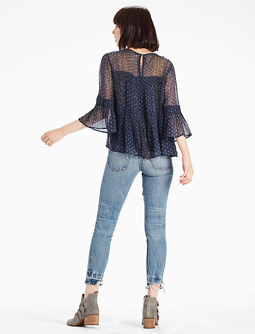 SHIRRED PEASANT TOP, NAVY MULTI