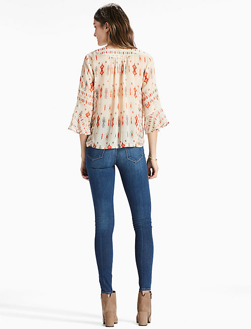 MIX PRINT BOHO TOP, NATURAL MULTI