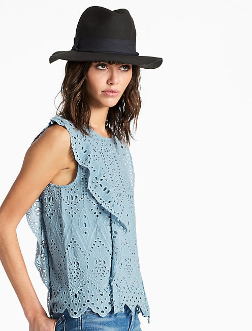 SCHIFFLY TOP, DUSTY BLUE