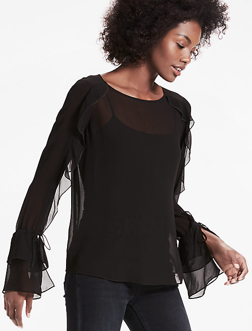 SCOOP BACK RUFFLE TOP, 001 LUCKY BLACK
