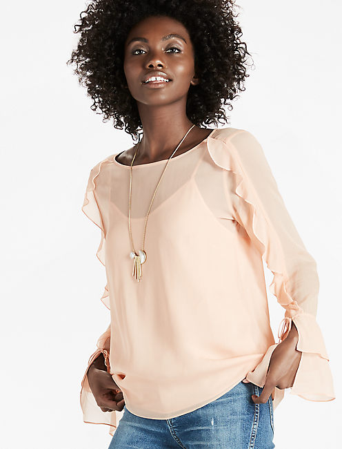 SCOOP BACK RUFFLE TOP, SHADOW GRAY