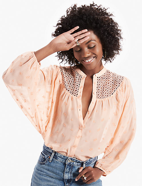 LACE YOKE DOLMAN TOP, ROSE TAN