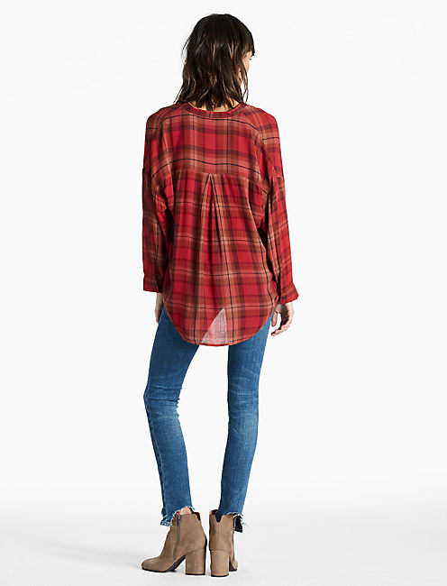 PLAID SHIRT, RED MULTI