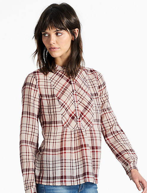 PLAID SHIRT, BURGUNDY MULTI