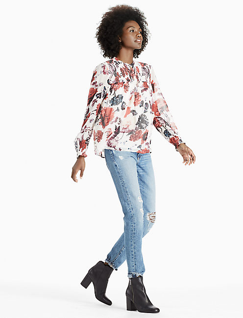 Lucky Floral Mock Neck Top