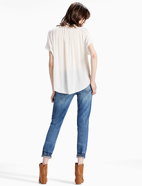 SHORT SLEEVE TOP, MARSHMALLOW